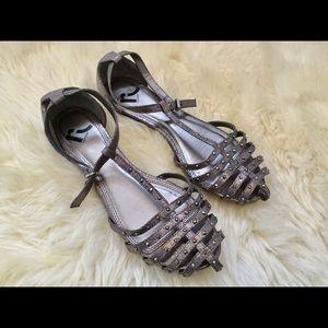 Grey Cute Womens Studded Glitter Sandals Sz 6.5